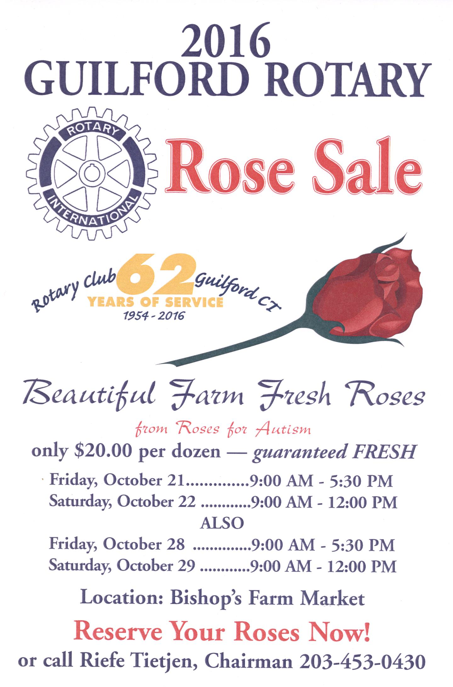 Guilford Rotary Rose Sale 2016 Poster